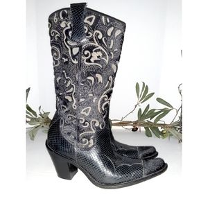 Antonio Melani Justine Leather & Faux Snake Boots